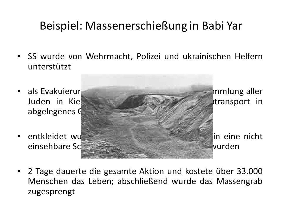 Beispiel: Massenerschießung in Babi Yar SS wurde von Wehrmacht, Polizei und ukrainischen Helfern unterstützt als Evakuierungsaktion getarnte Aktion --