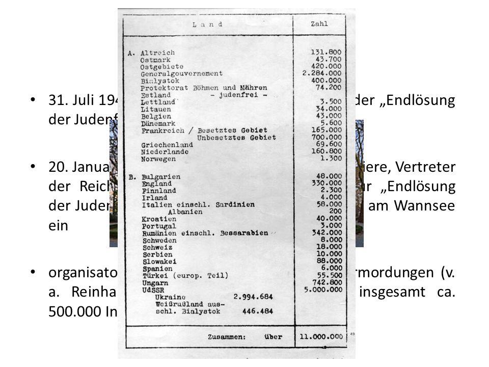 """Wannseekonferenz 31. Juli 1941: Göring beauftragt Heydrich mit der """"Endlösung der Judenfrage"""" 20. Januar 1942: Reinhard Heydrich lud SS-Offiziere, Ver"""