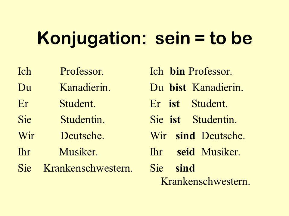 Konjugation: sein = to be Ich Professor. Du Kanadierin. Er Student. Sie Studentin. Wir Deutsche. Ihr Musiker. Sie Krankenschwestern. Ich bin Professor