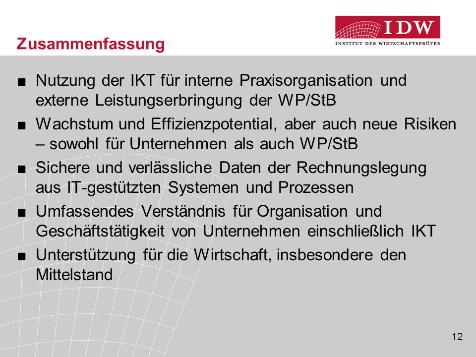 12 Zusammenfassung ■Nutzung der IKT für interne Praxisorganisation und externe Leistungserbringung der WP/StB ■Wachstum und Effizienzpotential, aber a
