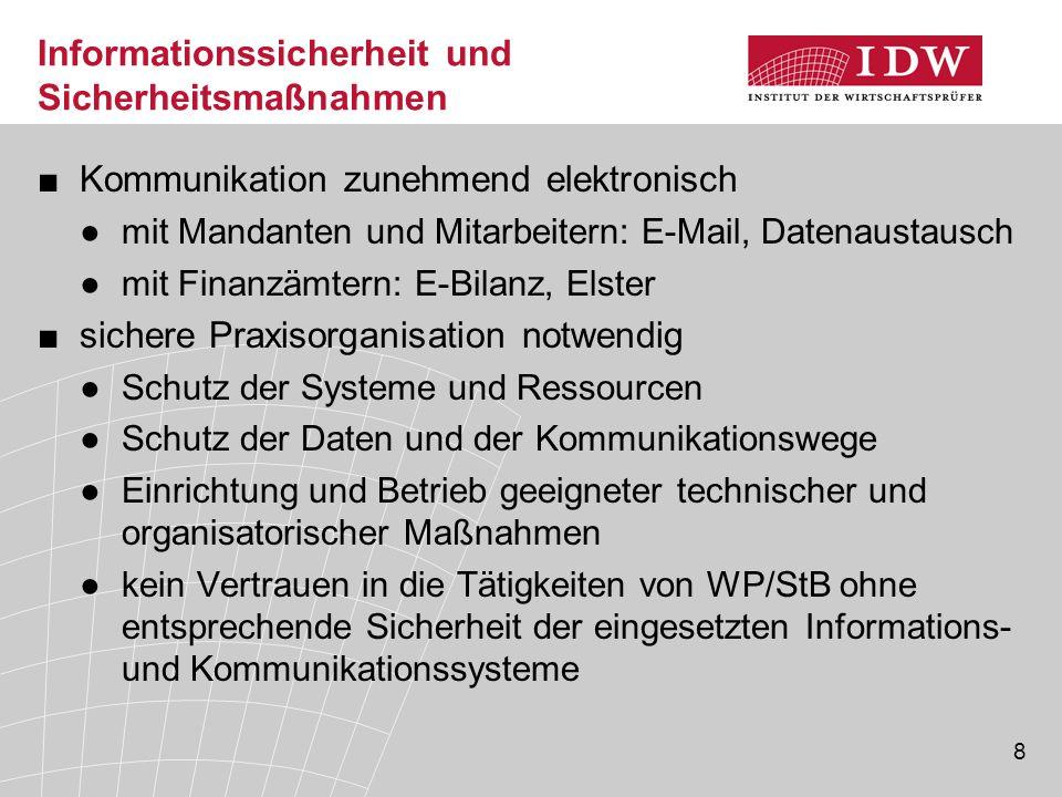 8 Informationssicherheit und Sicherheitsmaßnahmen ■Kommunikation zunehmend elektronisch ●mit Mandanten und Mitarbeitern: E-Mail, Datenaustausch ●mit F
