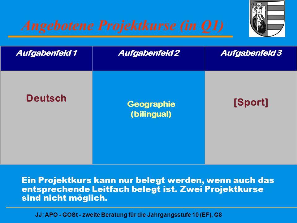 JJ: APO - GOSt - zweite Beratung für die Jahrgangsstufe 10 (EF), G8 Angebotene Projektkurse (in Q1) Aufgabenfeld 1Aufgabenfeld 2Aufgabenfeld 3 Deutsch