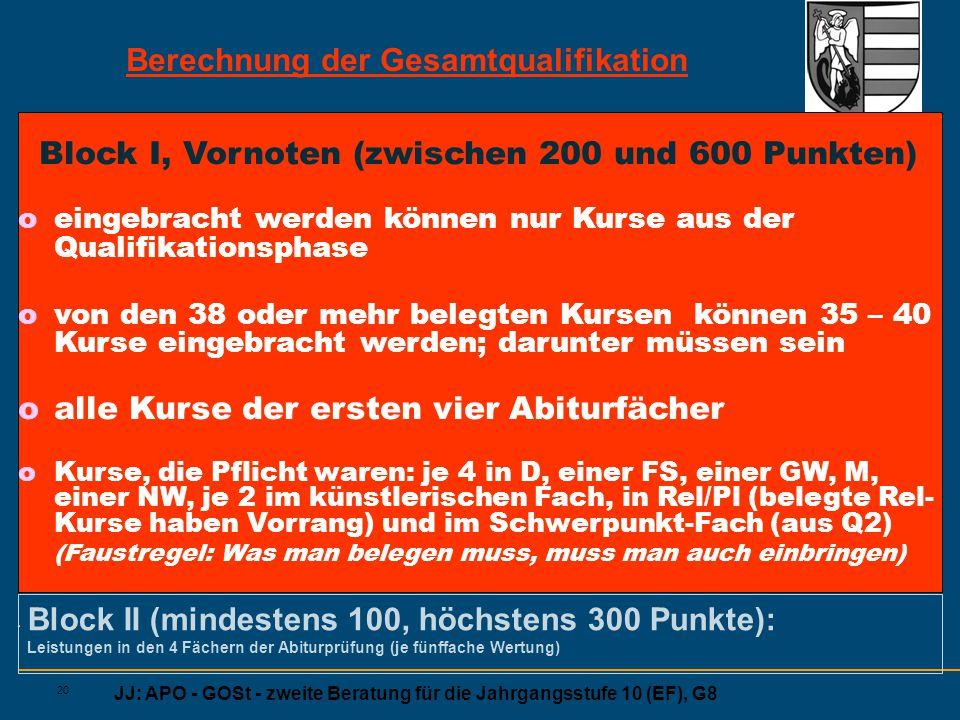 JJ: APO - GOSt - zweite Beratung für die Jahrgangsstufe 10 (EF), G8 20 Block I, Vornoten (zwischen 200 und 600 Punkten) oeingebracht werden können nur