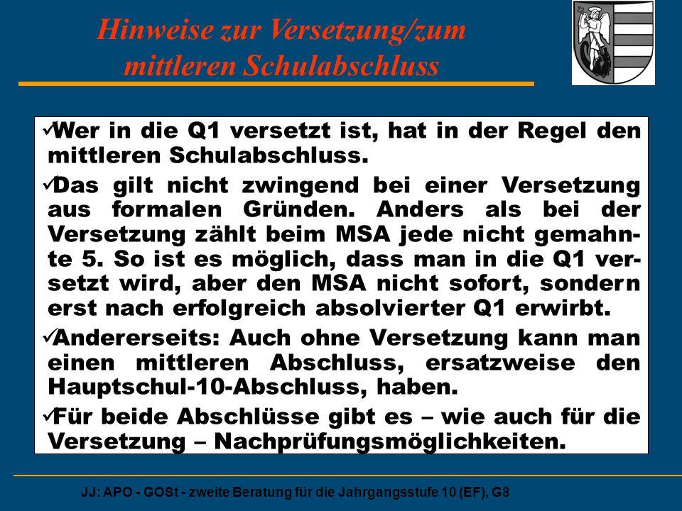 JJ: APO - GOSt - zweite Beratung für die Jahrgangsstufe 10 (EF), G8 Hinweise zur Versetzung/zum mittleren Schulabschluss Wer in die Q1 versetzt ist, h
