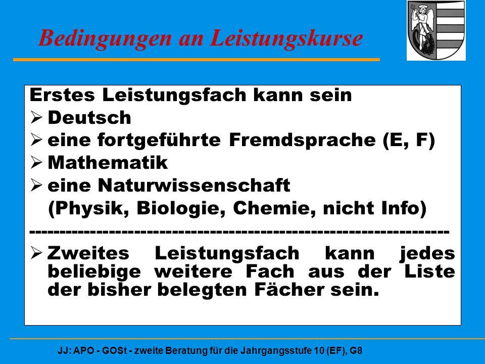 JJ: APO - GOSt - zweite Beratung für die Jahrgangsstufe 10 (EF), G8 Bedingungen an Leistungskurse Erstes Leistungsfach kann sein  Deutsch  eine fort