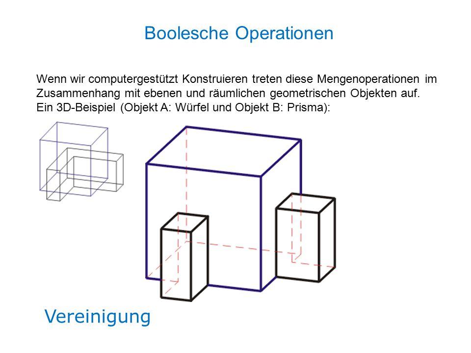 Vereinigung Wenn wir computergestützt Konstruieren treten diese Mengenoperationen im Zusammenhang mit ebenen und räumlichen geometrischen Objekten auf.