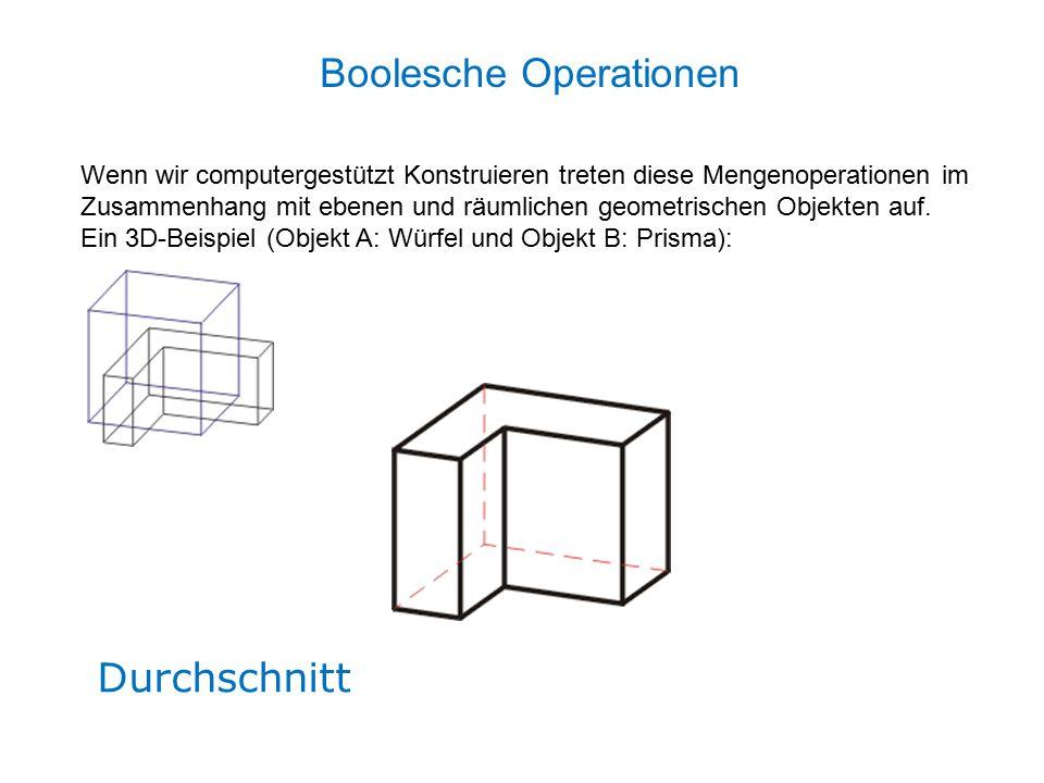 Durchschnitt Wenn wir computergestützt Konstruieren treten diese Mengenoperationen im Zusammenhang mit ebenen und räumlichen geometrischen Objekten auf.