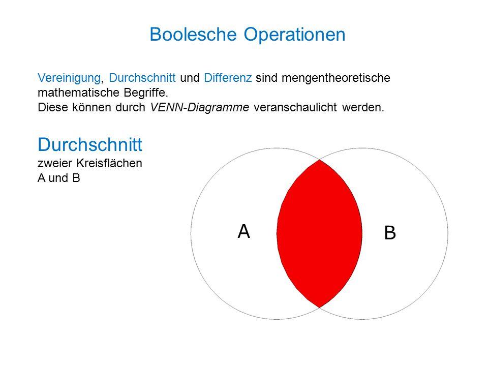 Durchschnitt zweier Kreisflächen A und B Vereinigung, Durchschnitt und Differenz sind mengentheoretische mathematische Begriffe.