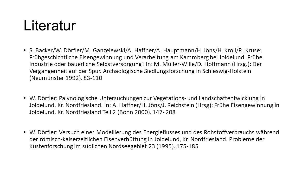 Literatur S. Backer/W. Dörfler/M. Ganzelewski/A. Haffner/A. Hauptmann/H. Jöns/H. Kroll/R. Kruse: Frühgeschichtliche Eisengewinnung und Verarbeitung am