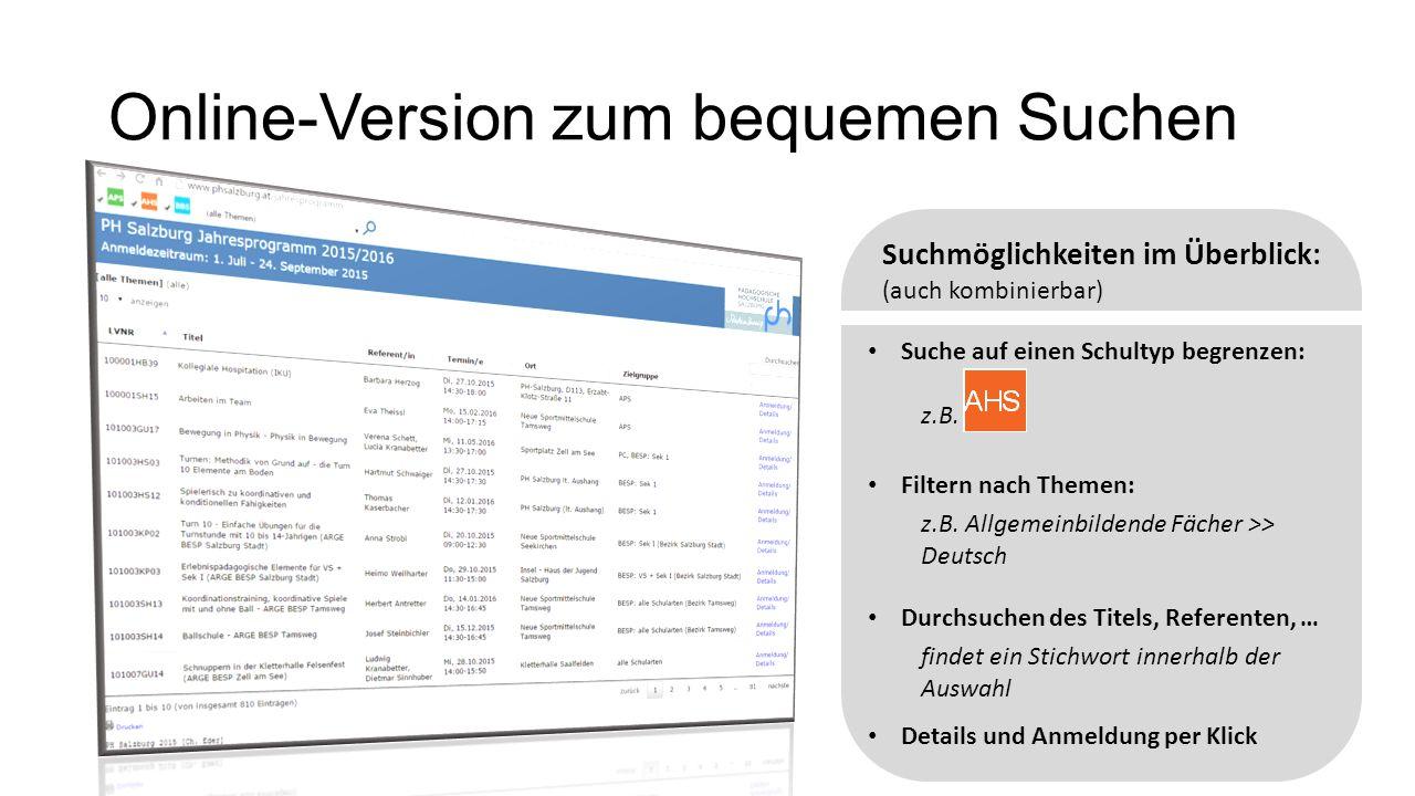 Online-Version zum bequemen Suchen Suche auf einen Schultyp begrenzen: Filtern nach Themen: z.B.