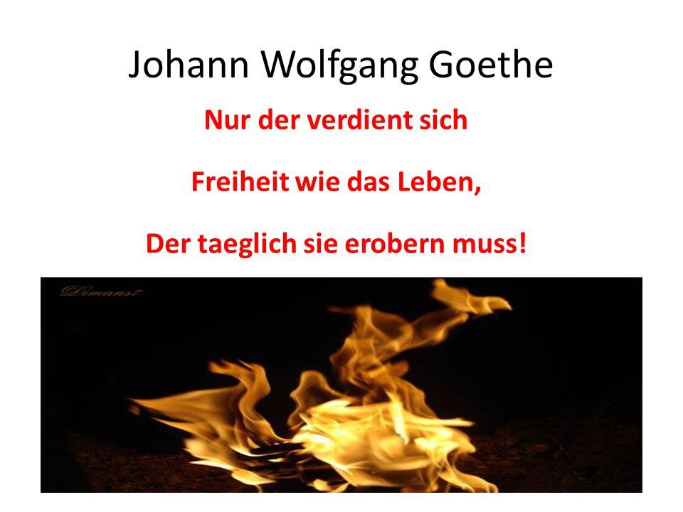 Johann Wolfgang Goethe Nur der verdient sich Freiheit wie das Leben, Der taeglich sie erobern muss!