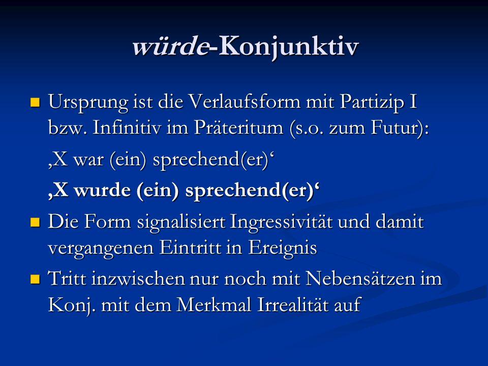 würde-Konjunktiv Ursprung ist die Verlaufsform mit Partizip I bzw. Infinitiv im Präteritum (s.o. zum Futur): Ursprung ist die Verlaufsform mit Partizi
