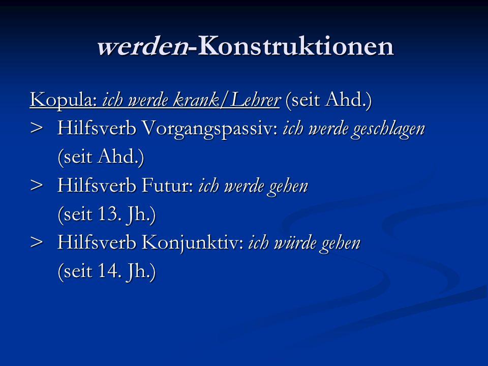Kopula: ich werde krank/Lehrer (seit Ahd.) >Hilfsverb Vorgangspassiv: ich werde geschlagen (seit Ahd.) >Hilfsverb Futur: ich werde gehen (seit 13. Jh.