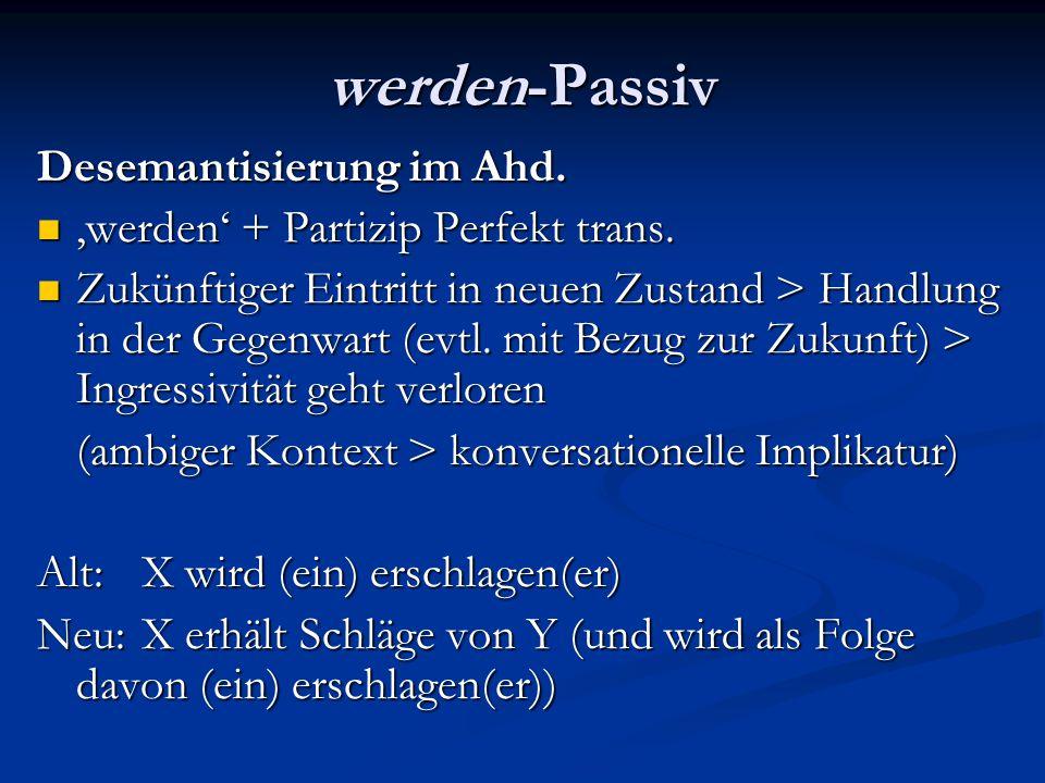 werden-Passiv Extension im Ahd.Es werden auch Verben möglich, die selbst nicht Ingressivität, d.h.