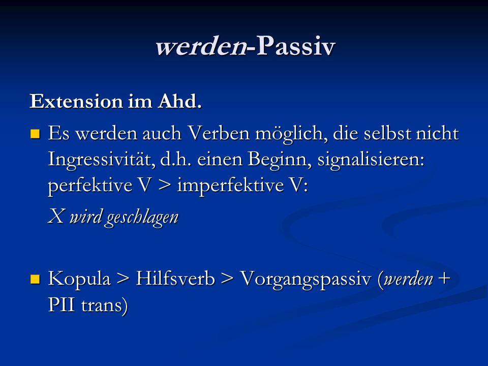 werden-Passiv Extension im Ahd. Es werden auch Verben möglich, die selbst nicht Ingressivität, d.h. einen Beginn, signalisieren: perfektive V > imperf