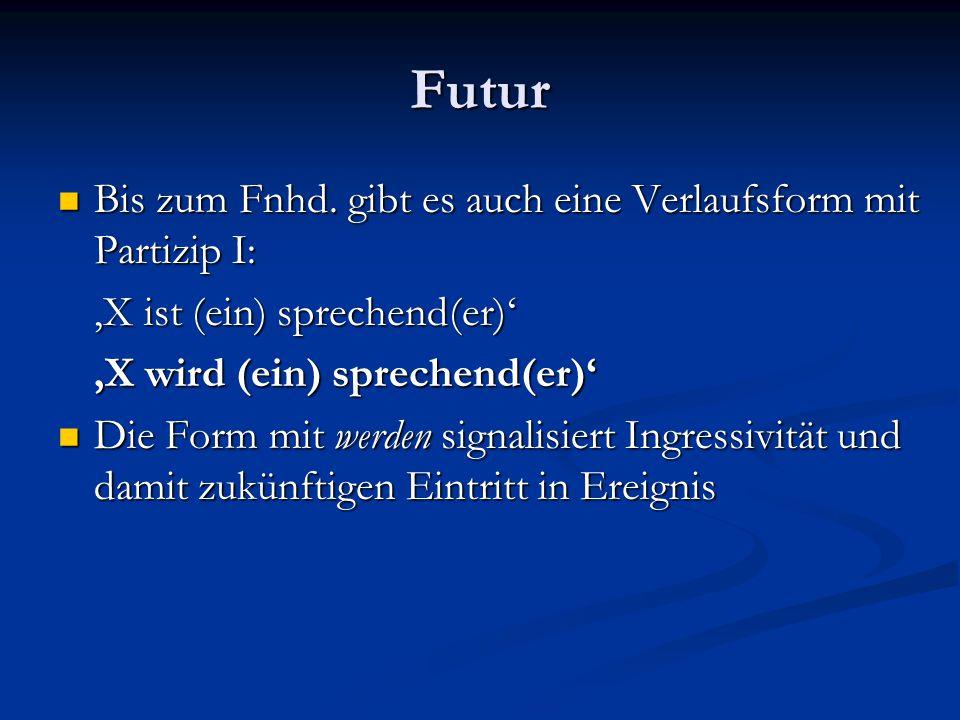 Futur Bis zum Fnhd. gibt es auch eine Verlaufsform mit Partizip I: Bis zum Fnhd. gibt es auch eine Verlaufsform mit Partizip I: 'X ist (ein) sprechend
