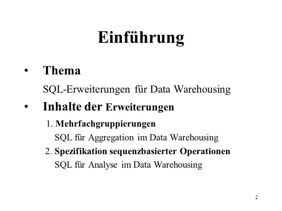 2 Einführung Thema SQL-Erweiterungen für Data Warehousing Inhalte der Erweiterungen 1. Mehrfachgruppierungen SQL für Aggregation im Data Warehousing 2