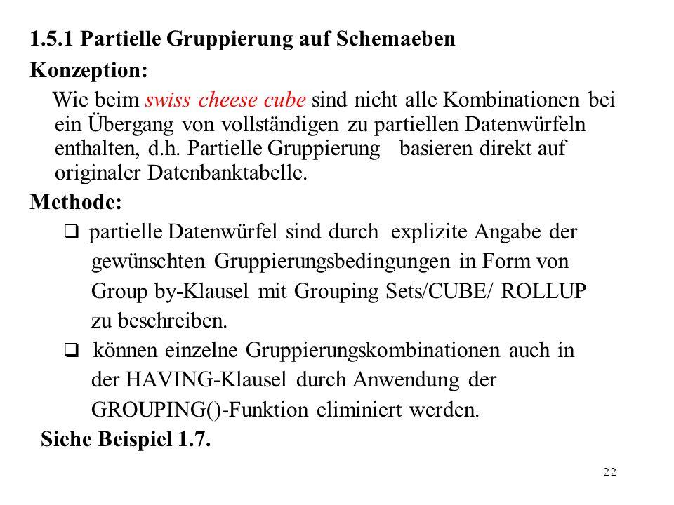 22 1.5.1 Partielle Gruppierung auf Schemaeben Konzeption: Wie beim swiss cheese cube sind nicht alle Kombinationen bei ein Übergang von vollständigen