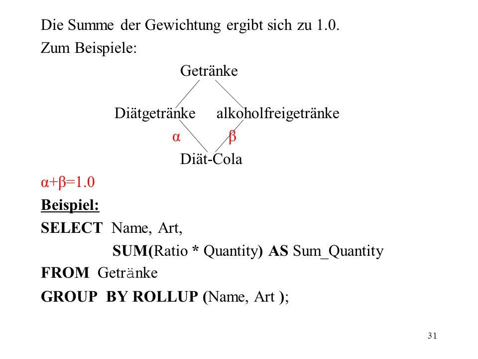 31 Die Summe der Gewichtung ergibt sich zu 1.0. Zum Beispiele: Getränke Diätgetränke alkoholfreigetränke α β Diät-Cola α+β=1.0 Beispiel: SELECT Name,