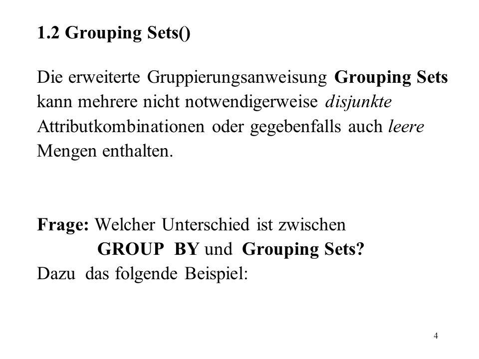 4 1.2 Grouping Sets() Die erweiterte Gruppierungsanweisung Grouping Sets kann mehrere nicht notwendigerweise disjunkte Attributkombinationen oder gege