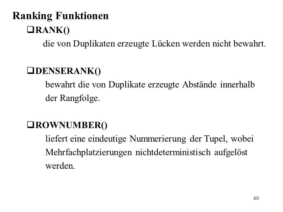 40 Ranking Funktionen  RANK() die von Duplikaten erzeugte Lücken werden nicht bewahrt.  DENSERANK() bewahrt die von Duplikate erzeugte Abstände inne