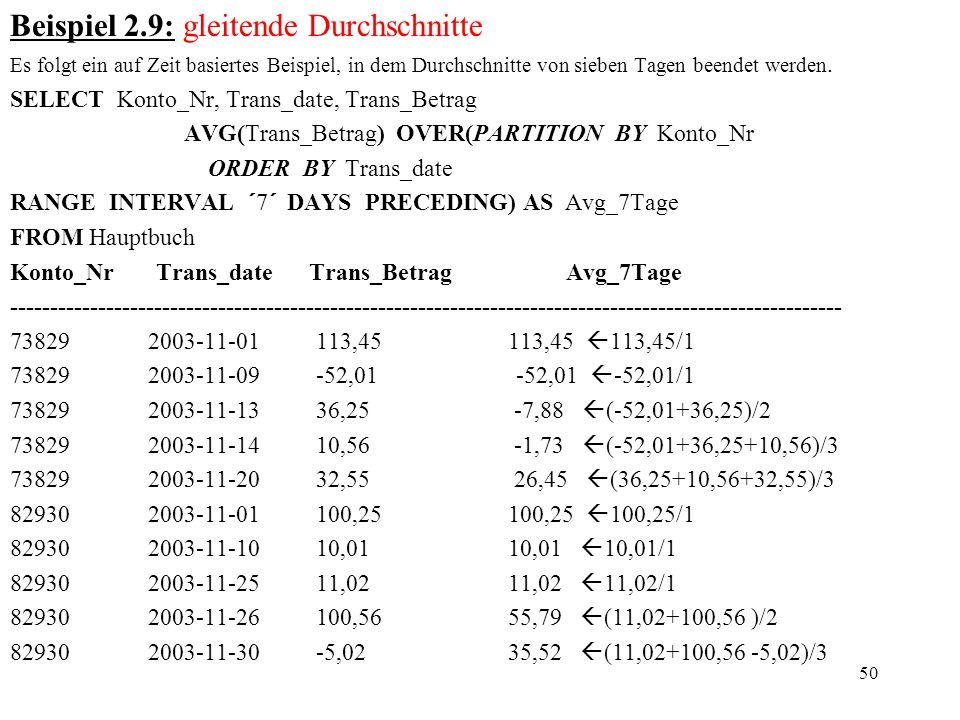 50 Beispiel 2.9: gleitende Durchschnitte Es folgt ein auf Zeit basiertes Beispiel, in dem Durchschnitte von sieben Tagen beendet werden. SELECT Konto_