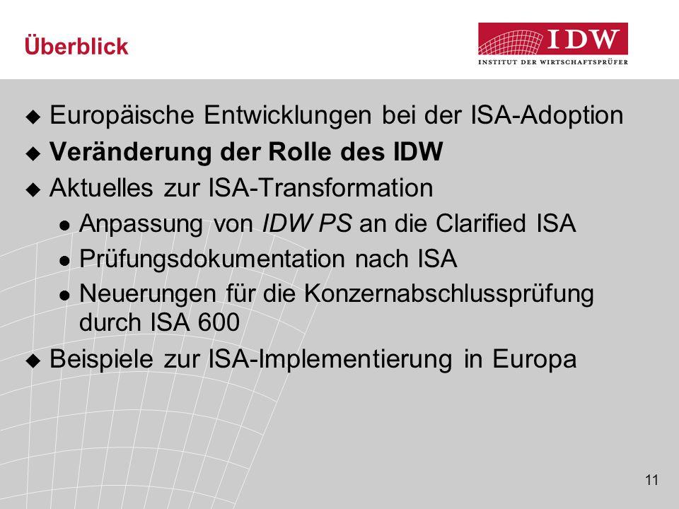 11 Überblick  Europäische Entwicklungen bei der ISA-Adoption  Veränderung der Rolle des IDW  Aktuelles zur ISA-Transformation Anpassung von IDW PS an die Clarified ISA Prüfungsdokumentation nach ISA Neuerungen für die Konzernabschlussprüfung durch ISA 600  Beispiele zur ISA-Implementierung in Europa