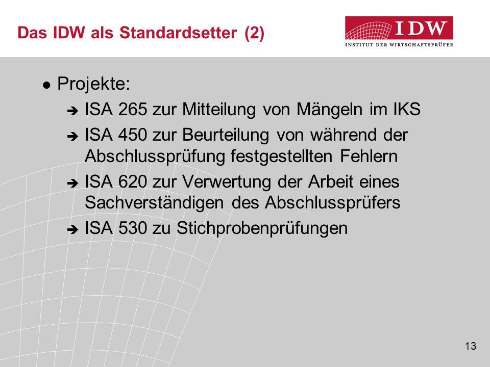 13 Das IDW als Standardsetter (2) Projekte:  ISA 265 zur Mitteilung von Mängeln im IKS  ISA 450 zur Beurteilung von während der Abschlussprüfung festgestellten Fehlern  ISA 620 zur Verwertung der Arbeit eines Sachverständigen des Abschlussprüfers  ISA 530 zu Stichprobenprüfungen