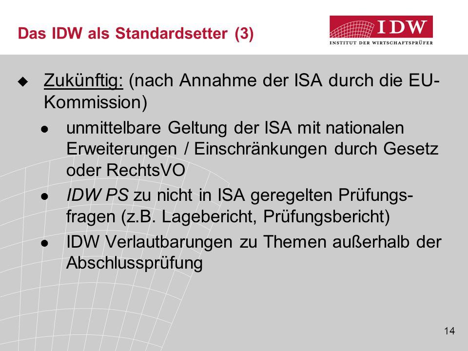 14 Das IDW als Standardsetter (3)  Zukünftig: (nach Annahme der ISA durch die EU- Kommission) unmittelbare Geltung der ISA mit nationalen Erweiterungen / Einschränkungen durch Gesetz oder RechtsVO IDW PS zu nicht in ISA geregelten Prüfungs- fragen (z.B.