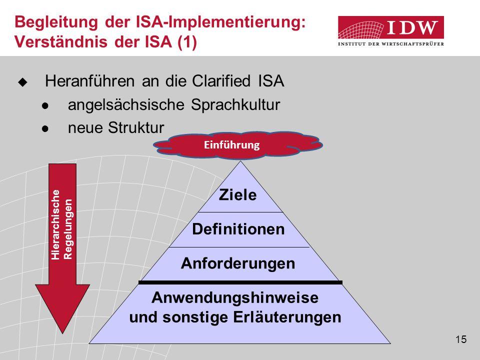 15 Begleitung der ISA-Implementierung: Verständnis der ISA (1)  Heranführen an die Clarified ISA angelsächsische Sprachkultur neue Struktur Einführung Hierarchische Regelungen Ziele Definitionen Anforderungen Anwendungshinweise und sonstige Erläuterungen