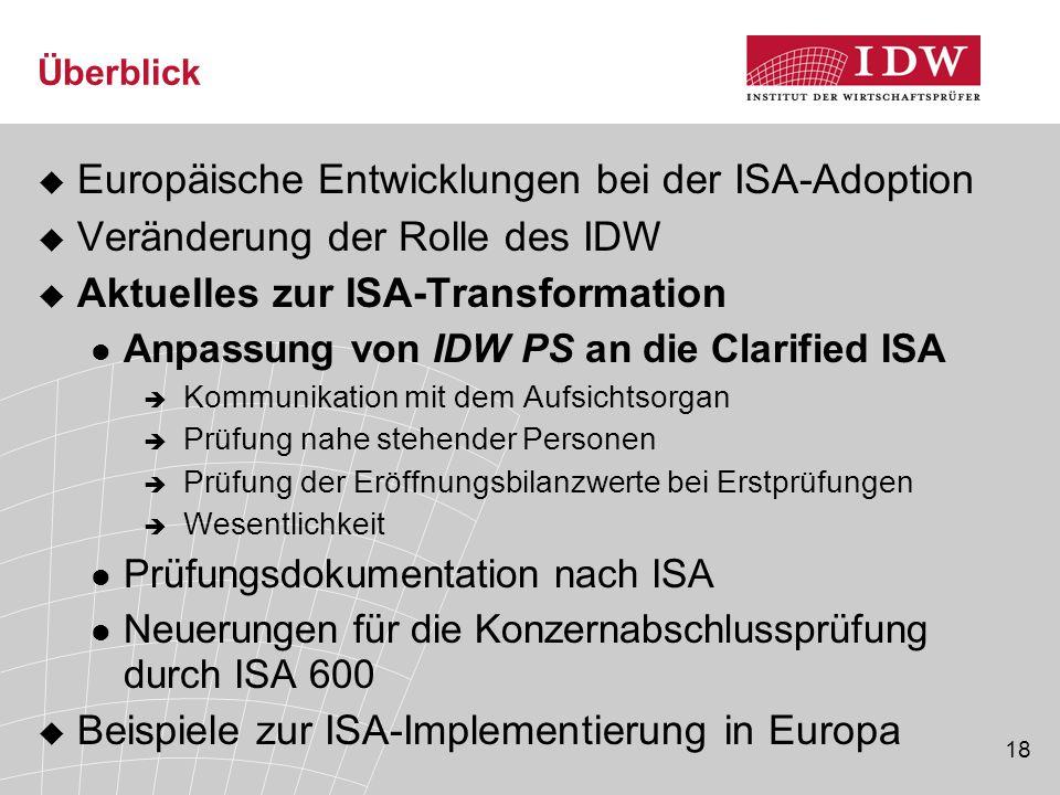18 Überblick  Europäische Entwicklungen bei der ISA-Adoption  Veränderung der Rolle des IDW  Aktuelles zur ISA-Transformation Anpassung von IDW PS an die Clarified ISA  Kommunikation mit dem Aufsichtsorgan  Prüfung nahe stehender Personen  Prüfung der Eröffnungsbilanzwerte bei Erstprüfungen  Wesentlichkeit Prüfungsdokumentation nach ISA Neuerungen für die Konzernabschlussprüfung durch ISA 600  Beispiele zur ISA-Implementierung in Europa