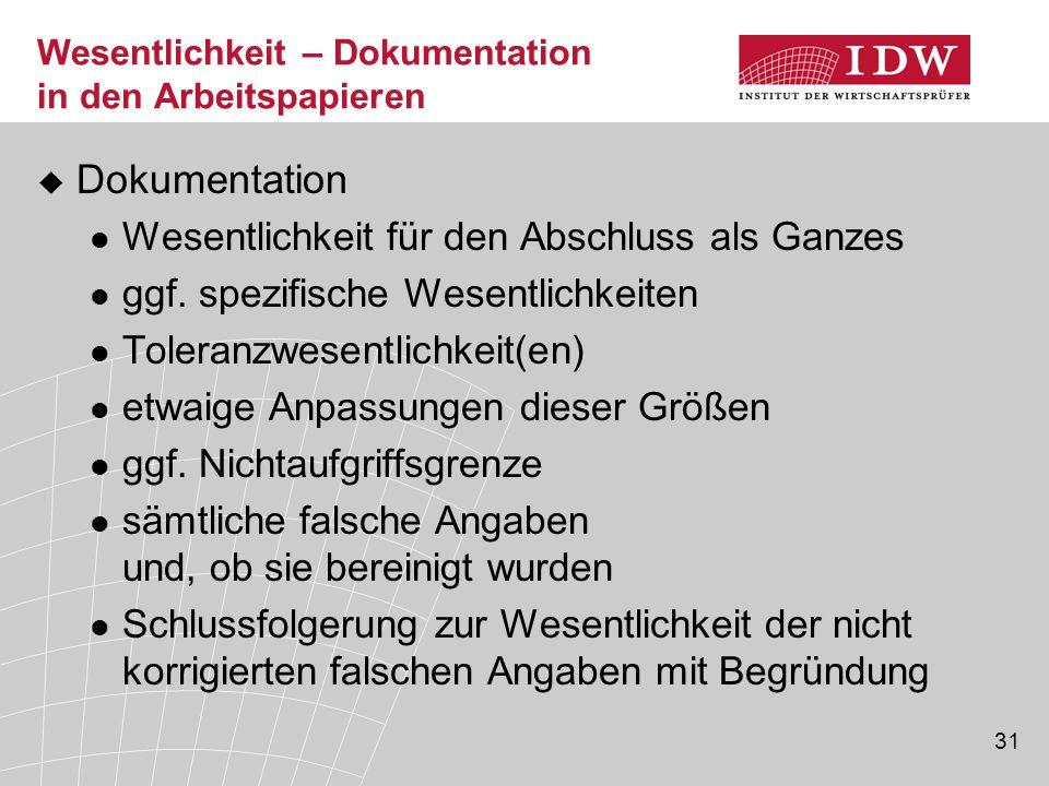 31 Wesentlichkeit – Dokumentation in den Arbeitspapieren  Dokumentation Wesentlichkeit für den Abschluss als Ganzes ggf.