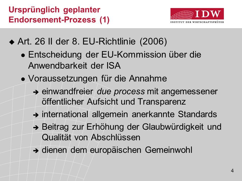 """55 ISA-Implementierung in UK/Irland  APB (UK and Ireland) """"an audit is an audit Übernahme in nationale Prüfungsstandards  ISA: Geschäftsjahre, die am oder nach dem 15.12.2004 beginnen  Clarified ISA: Geschäftsjahre, die am oder nach dem 15.12.2010 beginnen Implementierungshilfen, z.B."""