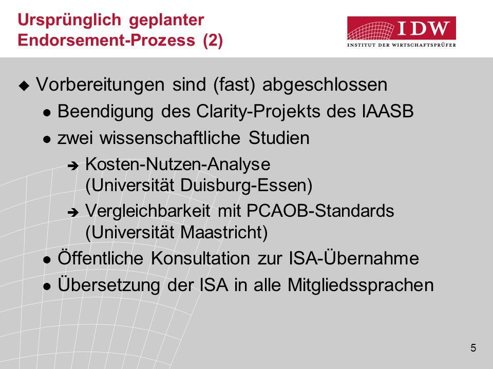 5 Ursprünglich geplanter Endorsement-Prozess (2)  Vorbereitungen sind (fast) abgeschlossen Beendigung des Clarity-Projekts des IAASB zwei wissenschaftliche Studien  Kosten-Nutzen-Analyse (Universität Duisburg-Essen)  Vergleichbarkeit mit PCAOB-Standards (Universität Maastricht) Öffentliche Konsultation zur ISA-Übernahme Übersetzung der ISA in alle Mitgliedssprachen