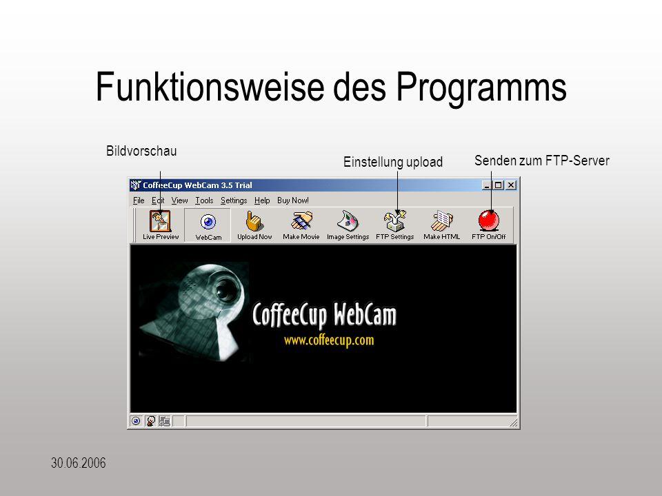 30.06.2006 Funktionsweise des Programms Bildvorschau Senden zum FTP-Server Einstellung upload