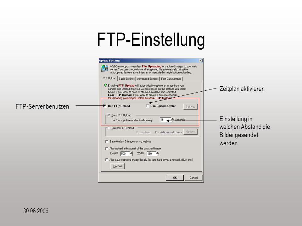 30.06.2006 FTP-Einstellung Einstellung in welchen Abstand die Bilder gesendet werden FTP-Server benutzen Zeitplan aktivieren