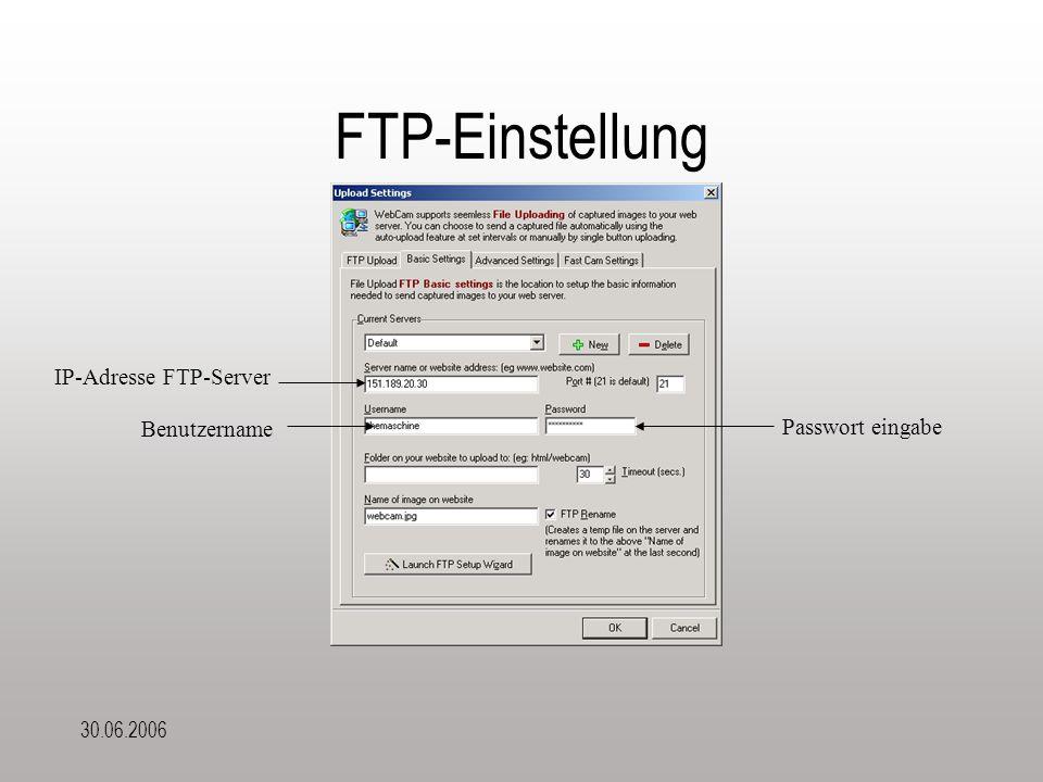 30.06.2006 FTP-Einstellung Passwort eingabe IP-Adresse FTP-Server Benutzername