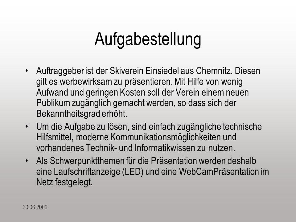 30.06.2006 Aufgabestellung Auftraggeber ist der Skiverein Einsiedel aus Chemnitz. Diesen gilt es werbewirksam zu präsentieren. Mit Hilfe von wenig Auf