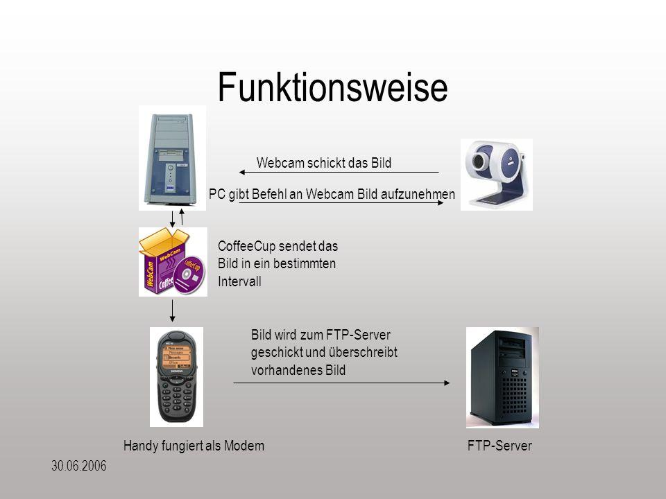 30.06.2006 Funktionsweise Webcam schickt das Bild Handy fungiert als ModemFTP-Server CoffeeCup sendet das Bild in ein bestimmten Intervall Bild wird zum FTP-Server geschickt und überschreibt vorhandenes Bild PC gibt Befehl an Webcam Bild aufzunehmen