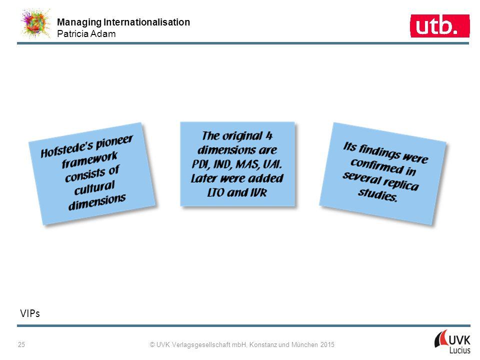 Managing Internationalisation Patricia Adam © UVK Verlagsgesellschaft mbH, Konstanz und München 2015 26 2 ‑ 22: Cultural Differences Expressed as Normal Distributions