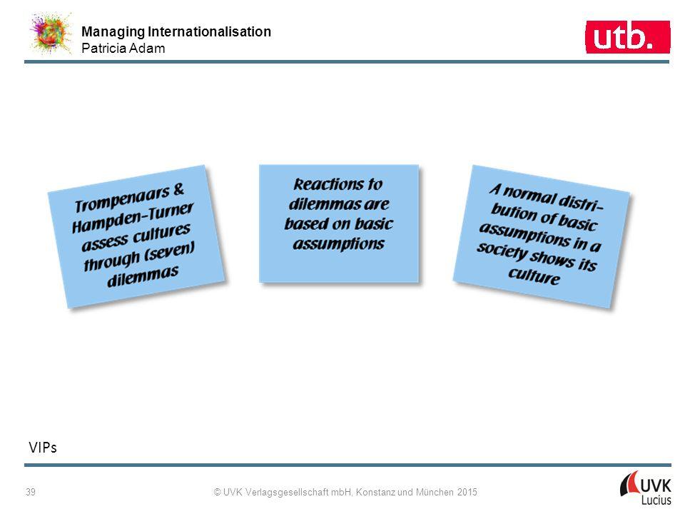 Managing Internationalisation Patricia Adam © UVK Verlagsgesellschaft mbH, Konstanz und München 2015 40 2-35: GLOBE: Nine Cultural Dimensions