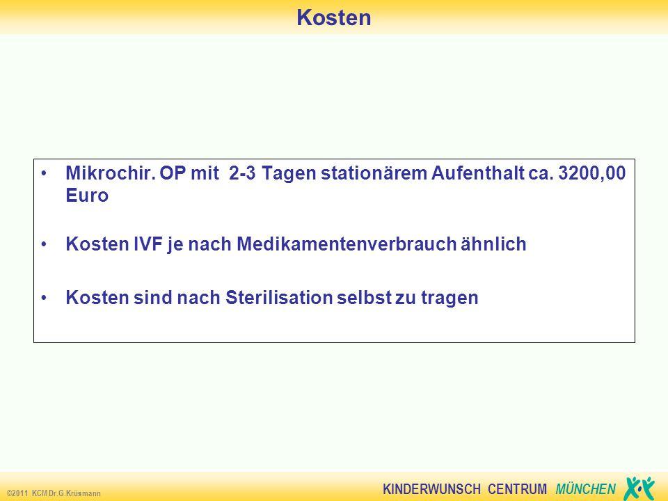 KINDERWUNSCH CENTRUM MÜNCHEN ©2011 KCM Dr.G.Krüsmann Kosten Life birth following reversal of female sterilisation in women older than 40 years (40-47) (Petrucco OM; Silber SJ u.a.