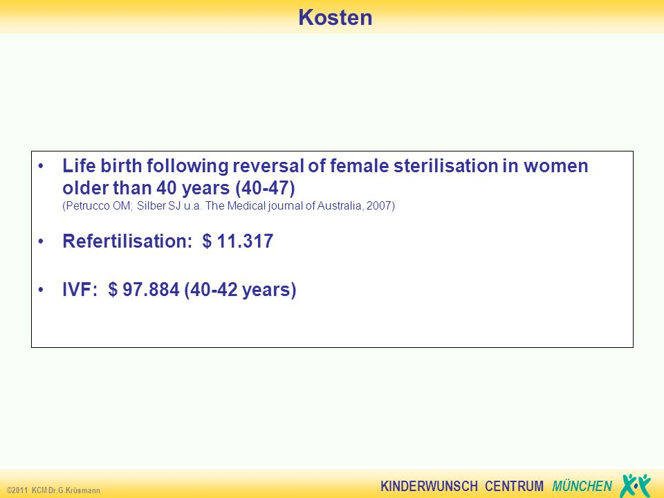KINDERWUNSCH CENTRUM MÜNCHEN ©2011 KCM Dr.G.Krüsmann Kosten Life birth following reversal of female sterilisation in women older than 40 years (40-47)