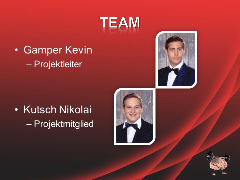 Gamper Kevin –Projektleiter Kutsch Nikolai –Projektmitglied