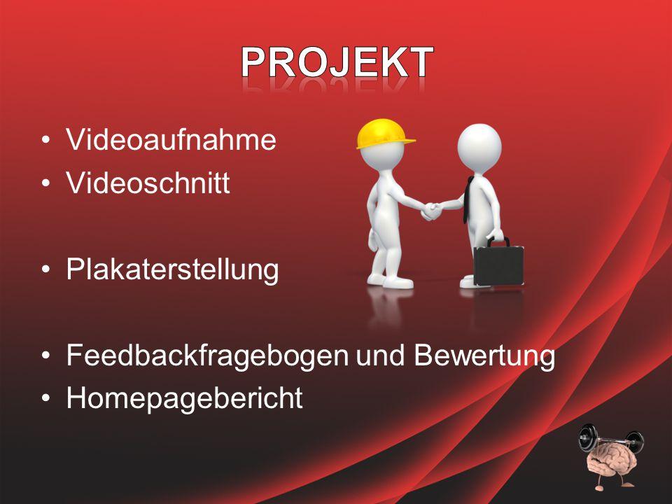 Videoaufnahme Videoschnitt Plakaterstellung Feedbackfragebogen und Bewertung Homepagebericht