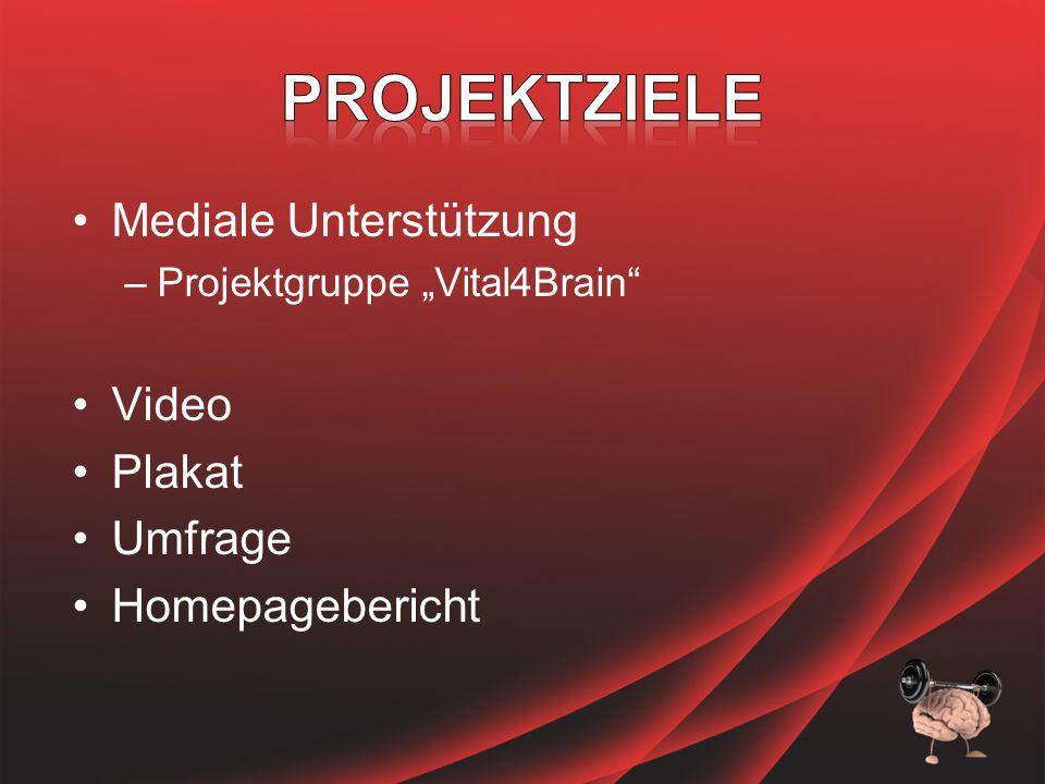 "Mediale Unterstützung –Projektgruppe ""Vital4Brain Video Plakat Umfrage Homepagebericht"