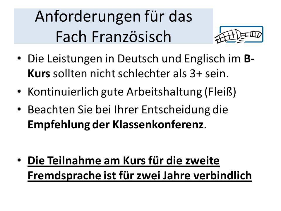 Anforderungen für das Fach Französisch Die Leistungen in Deutsch und Englisch im B- Kurs sollten nicht schlechter als 3+ sein.
