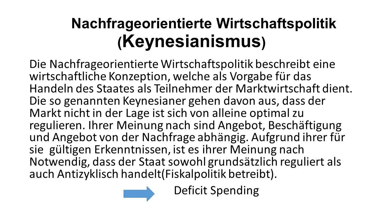 Nachfrageorientierte Wirtschaftspolitik ( Keynesianismus ) Die Nachfrageorientierte Wirtschaftspolitik beschreibt eine wirtschaftliche Konzeption, welche als Vorgabe für das Handeln des Staates als Teilnehmer der Marktwirtschaft dient.