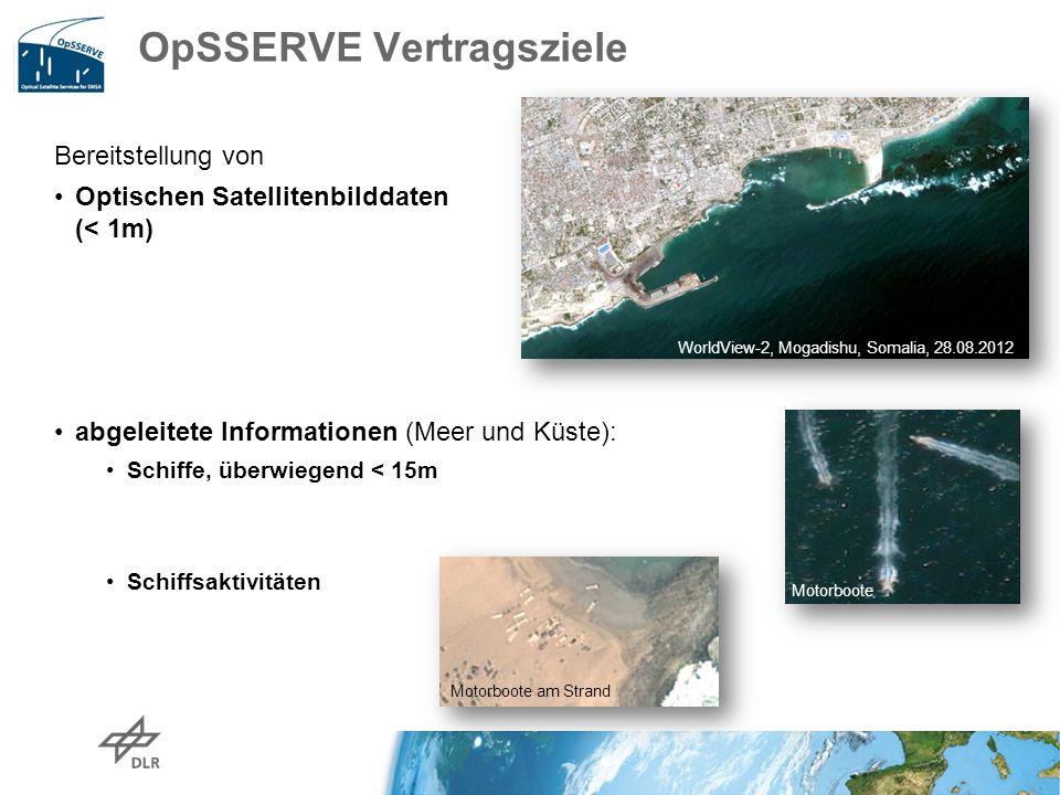 OpSSERVE Vertragsziele Bereitstellung von Optischen Satellitenbilddaten (< 1m) abgeleitete Informationen (Meer und Küste): Schiffe, überwiegend < 15m