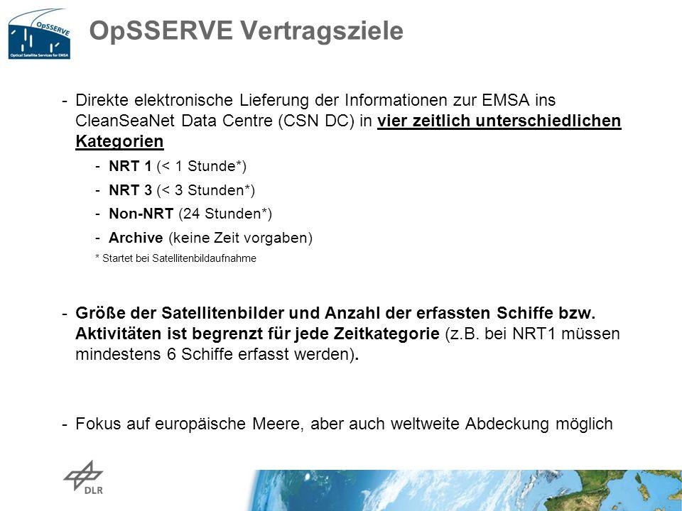 OpSSERVE Vertragsziele -Direkte elektronische Lieferung der Informationen zur EMSA ins CleanSeaNet Data Centre (CSN DC) in vier zeitlich unterschiedli